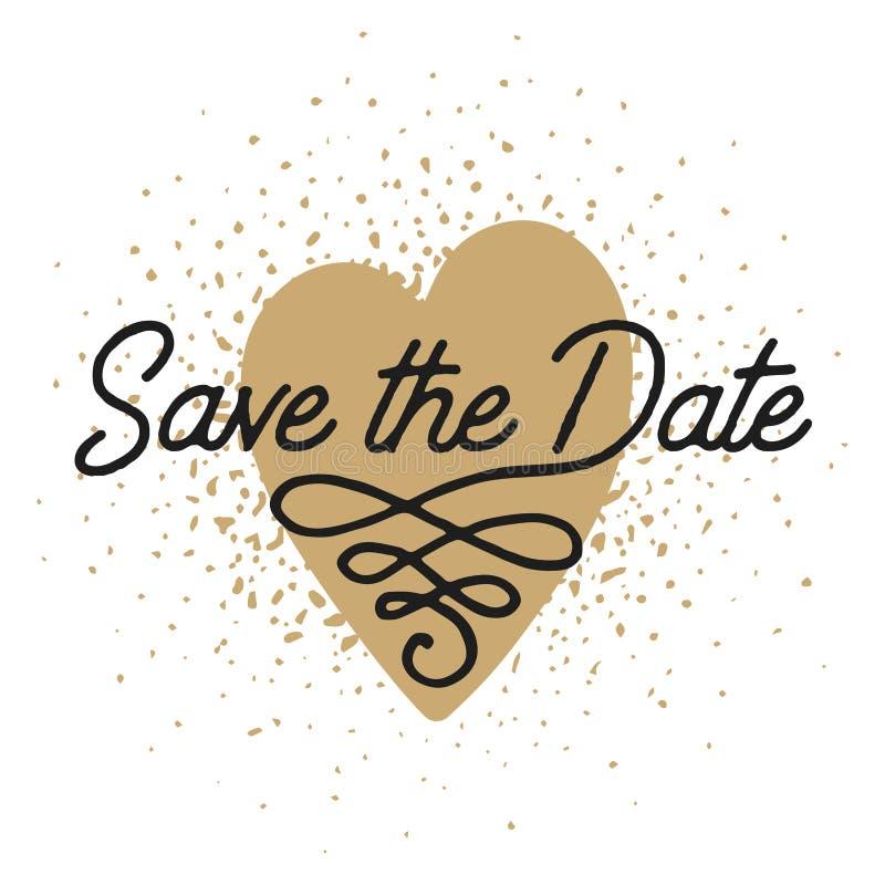 Εκτός από την ημερομηνία στη μορφή καρδιών προσκαλέστε το διανυσματικό πρότυπο καρτών απεικόνιση αποθεμάτων