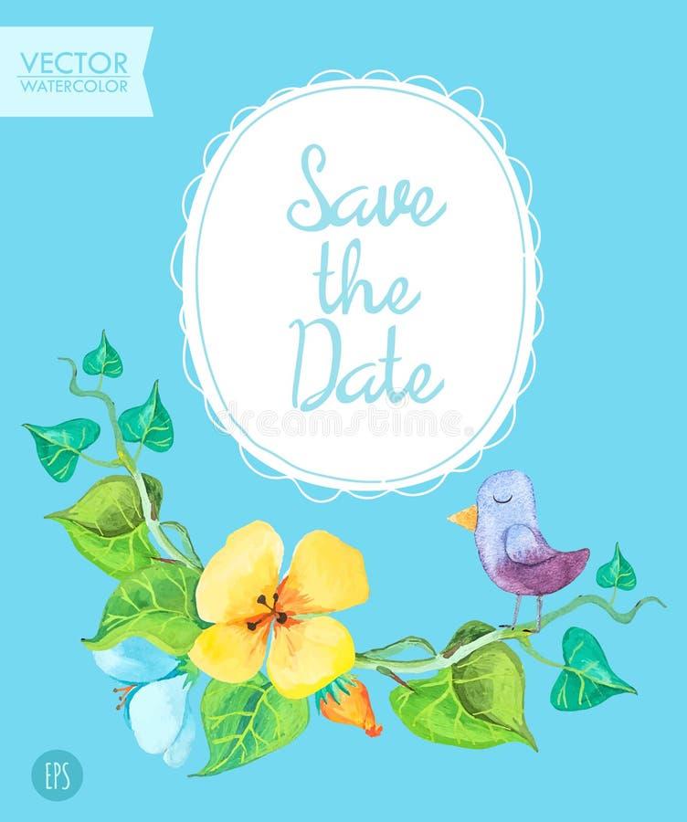 Εκτός από την κάρτα ημερομηνίας το πρότυπο με το ρομαντικό καλοκαίρι ανθίζει και χαριτωμένο πουλί σε ένα μπλε υπόβαθρο διανυσματική απεικόνιση