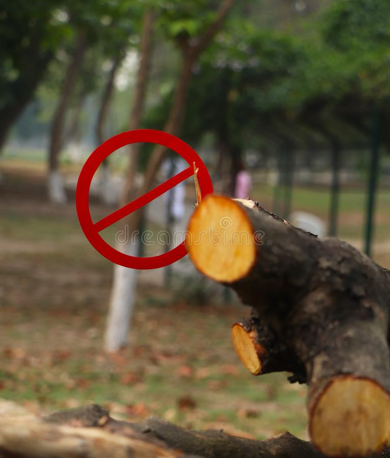 Εκτός από τη φύση Απαγόρευση στα τέμνοντα δέντρα στοκ εικόνες με δικαίωμα ελεύθερης χρήσης