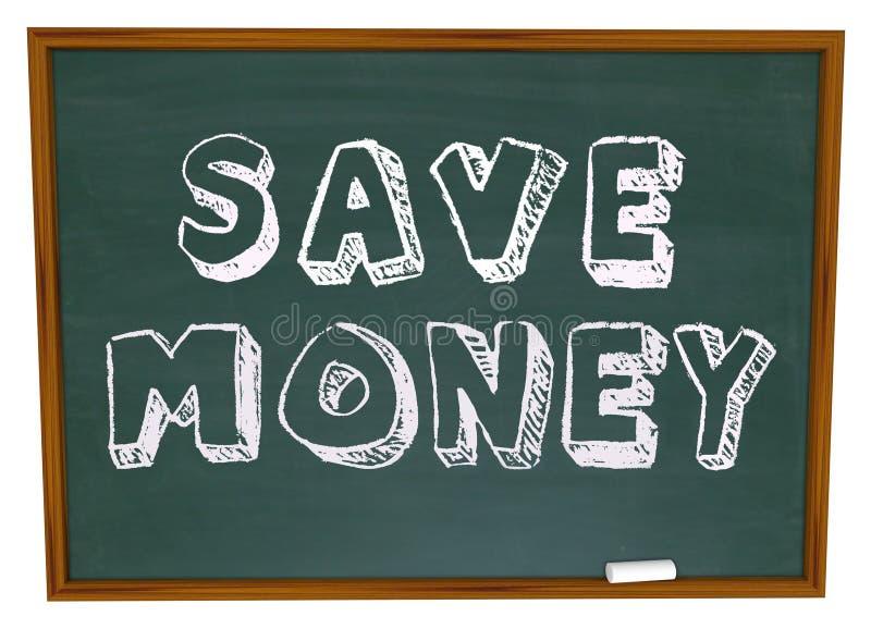 Εκτός από τις λέξεις χρημάτων στην αποταμίευση εκπαίδευσης πινάκων κιμωλίας ελεύθερη απεικόνιση δικαιώματος