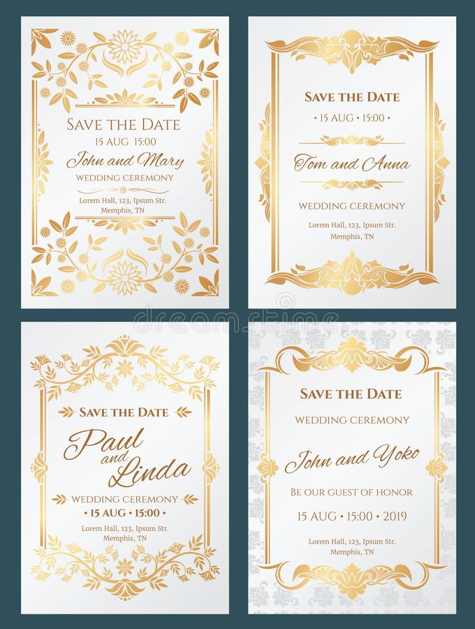 Εκτός από τις διανυσματικές κάρτες γαμήλιας πρόσκλησης πολυτέλειας ημερομηνίας με το χρυσό κομψό πλαίσιο συνόρων διανυσματική απεικόνιση