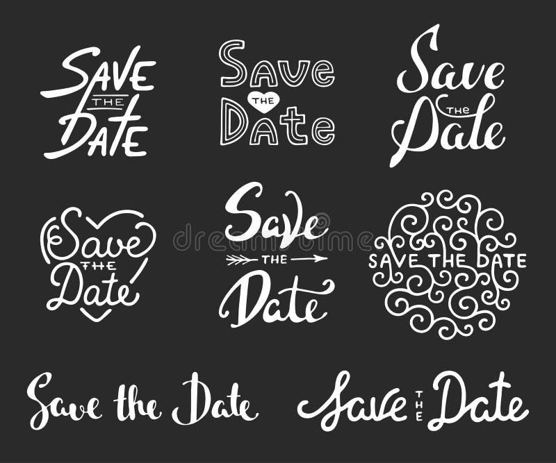Εκτός από τις φράσεις καλλιγραφίας ημερομηνίας Μοναδική εγγραφή διανυσματική απεικόνιση