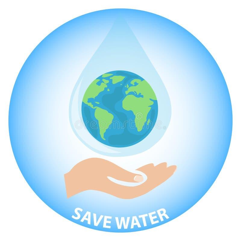 Εκτός από το γήινο νερό Το χέρι κρατά το πλανήτη Γη υπό μορφή πτώσης του νερού στην παλάμη του χεριού σας Οικολογικό έμβλημα απεικόνιση αποθεμάτων