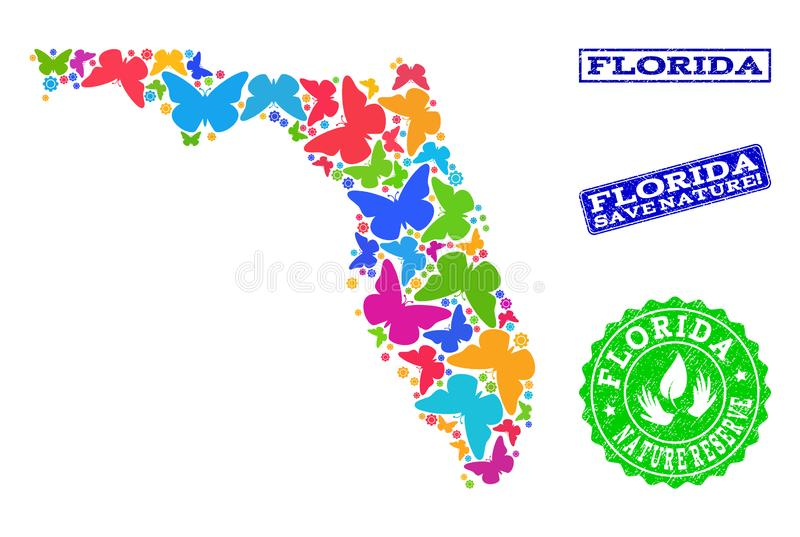 Εκτός από το κολάζ φύσης του χάρτη του κράτους της Φλώριδας με τις πεταλούδες και τα λαστιχένια υδατόσημα διανυσματική απεικόνιση
