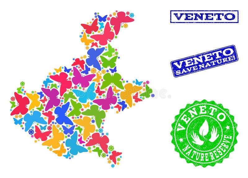 Εκτός από το κολάζ φύσης του χάρτη της περιοχής του Βένετο με τις πεταλούδες και τα υδατόσημα κινδύνου απεικόνιση αποθεμάτων