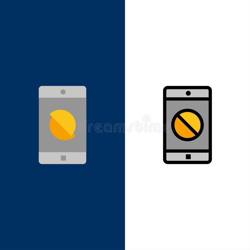Εκτός λειτουργίας εφαρμογή, εκτός λειτουργίας κινητά, κινητά εικονίδια Επίπεδος και γραμμή γέμισε το καθορισμένο διανυσματικό μπλ διανυσματική απεικόνιση