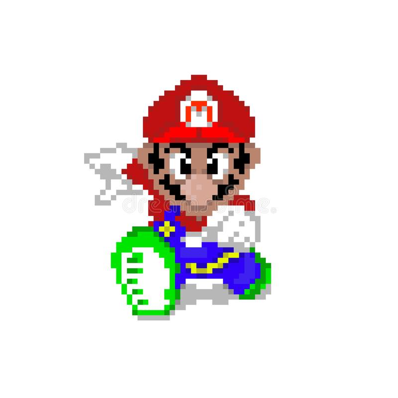 Εκτύπωση Εικονογραφημένων Εικόνων Pixel Βιντεοπαιχνίδι 8 bit , 16 bit Εκτέλεση Εικονογραφήματος Λογότυπο Μασκότ απεικόνιση αποθεμάτων