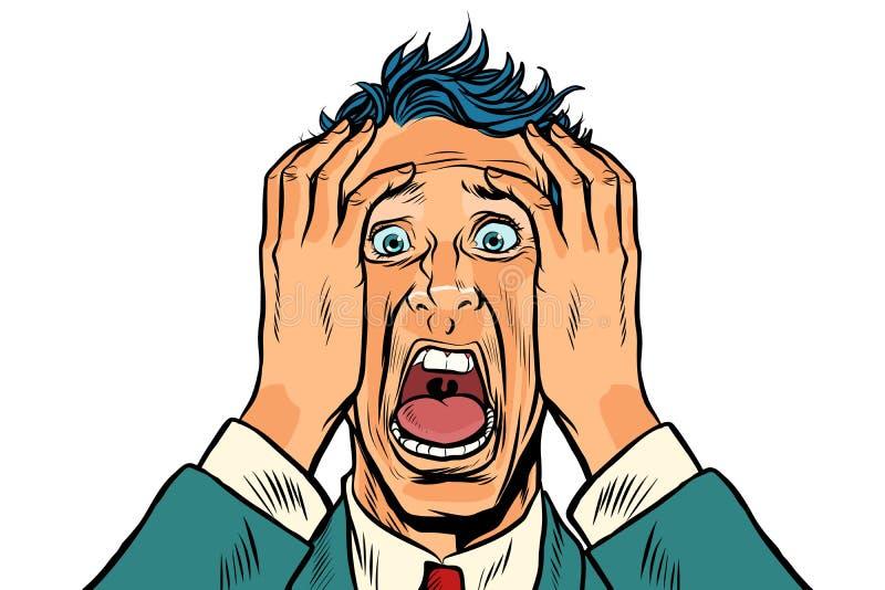 Εκφοβισμένο άτομο δύο χέρια στο κεφάλι απεικόνιση αποθεμάτων
