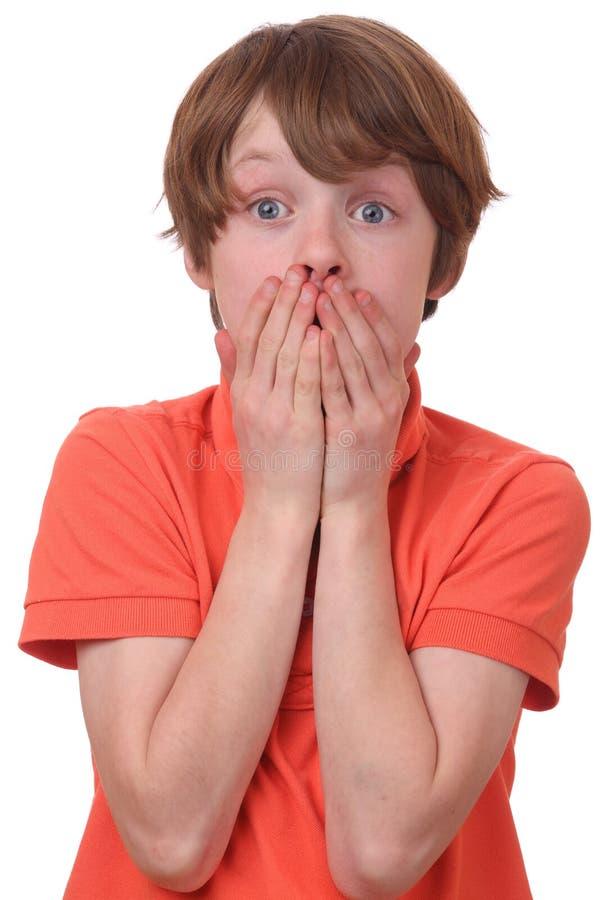 Εκφοβισμένο αγόρι στοκ φωτογραφία