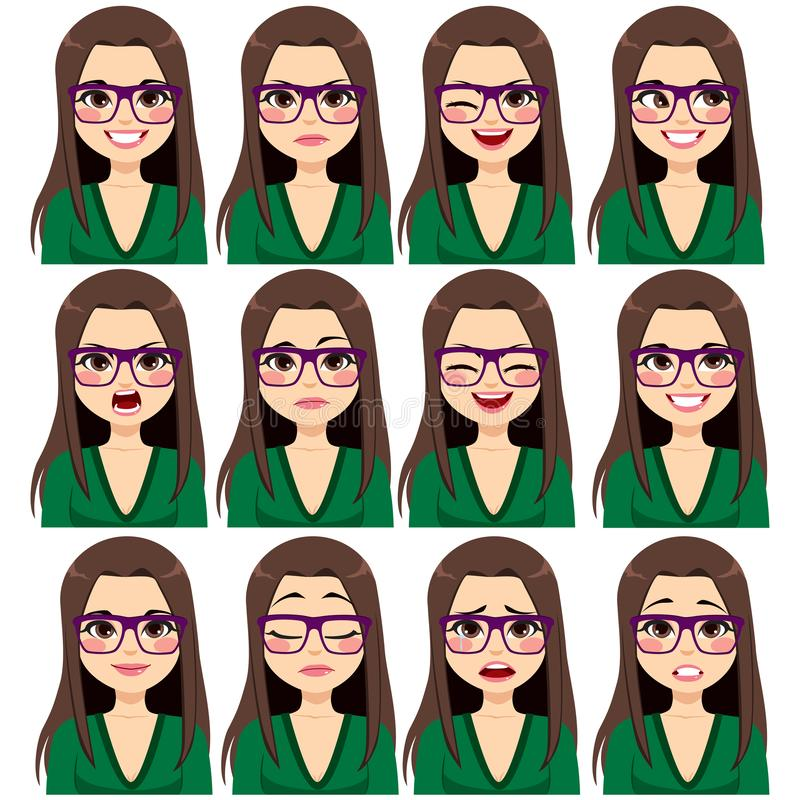 Εκφράσεις γυναικών γυαλιών Brunette ελεύθερη απεικόνιση δικαιώματος