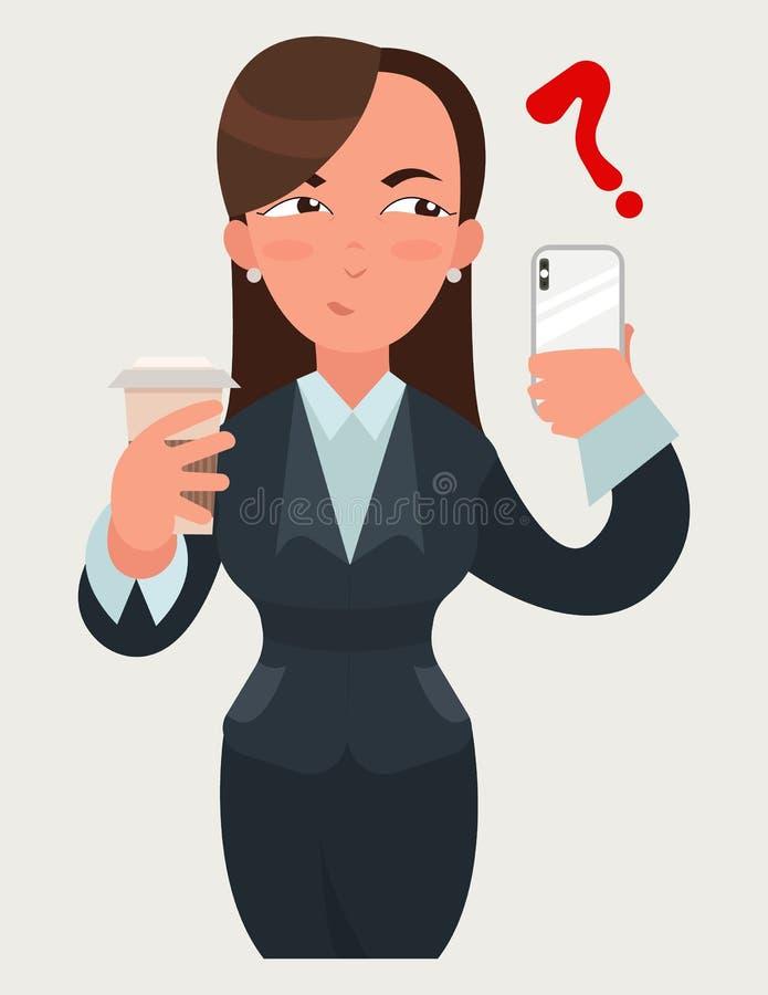 Εκφράσεις επιχειρησιακών γυναικών Γυναίκα με έναν καφέ και ένα smartphone nSuspicious συγκίνηση στοκ φωτογραφία με δικαίωμα ελεύθερης χρήσης