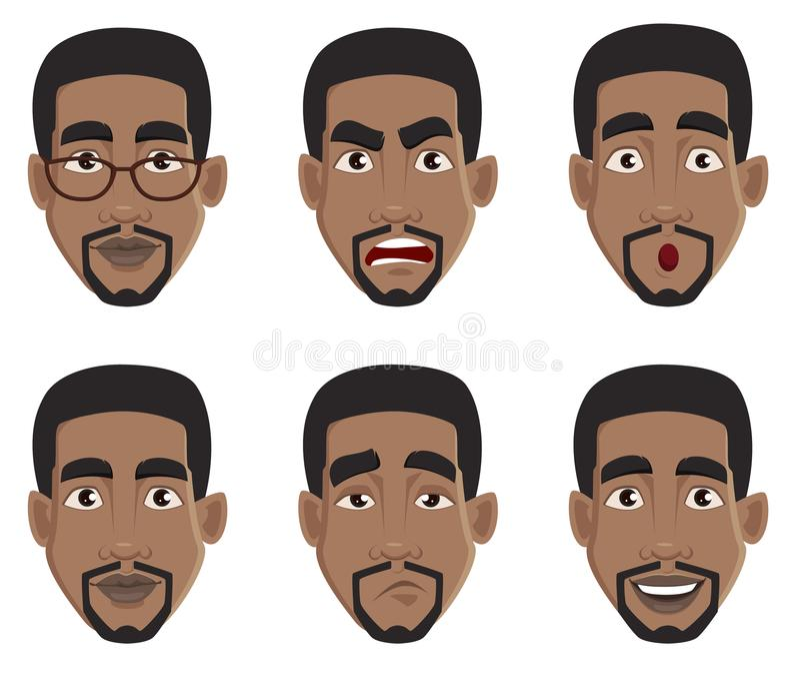 Εκφράσεις προσώπου του ατόμου αφροαμερικάνων διανυσματική απεικόνιση