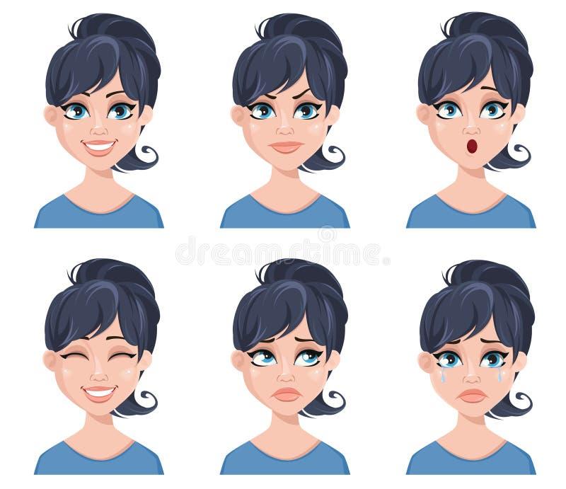 Εκφράσεις του προσώπου μιας όμορφης γυναίκας Διαφορετικές θηλυκές συγκινήσεις καθορισμένες διανυσματική απεικόνιση