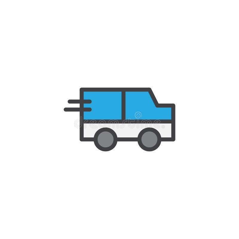 Εκφράστε γεμισμένο εικονίδιο περιλήψεων παράδοσης το φορτηγό απεικόνιση αποθεμάτων