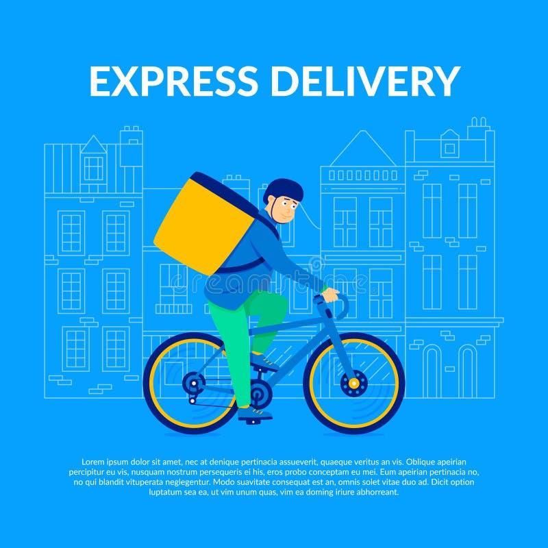 Εκφράστε την παράδοση Ανεξάρτητος ανάδοχος εργασίας αγγελιαφόρων ποδηλάτων διανυσματική απεικόνιση