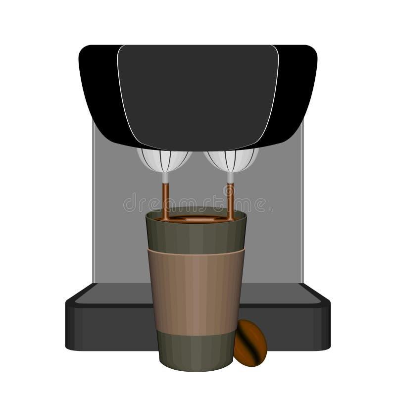 Εκφράστε τον κατασκευαστή καφέ με ένα πλαστικό φλυτζάνι διανυσματική απεικόνιση