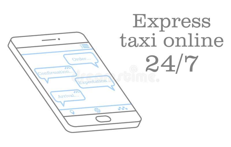 Εκφράστε το ταξί σε απευθείας σύνδεση Διανυσματική απεικόνιση μιας συνομιλίας στην εφαρμογή με το χειριστή Σχέδιο για έναν σε απε διανυσματική απεικόνιση