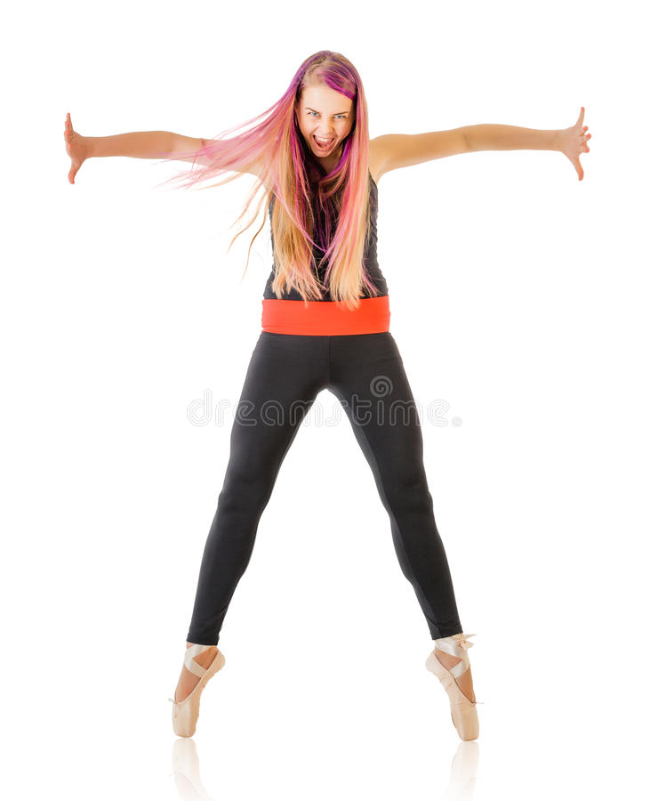 Εκφραστική νέα χορεύοντας γυναίκα στοκ εικόνες