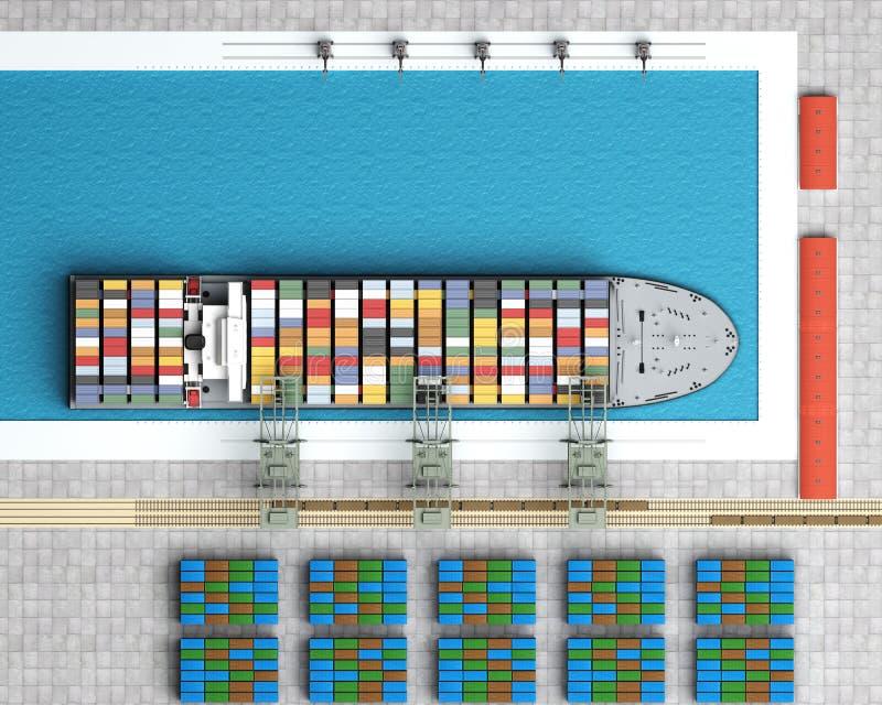Εκφόρτωση του φορτηγού πλοίου απεικόνιση αποθεμάτων