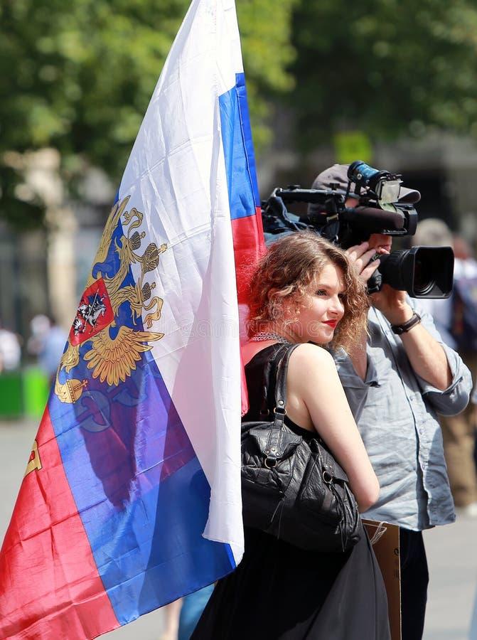 Εκδήλωση διαμαρτυρίας ενάντια στον πόλεμο στην Ουκρανία στοκ εικόνες