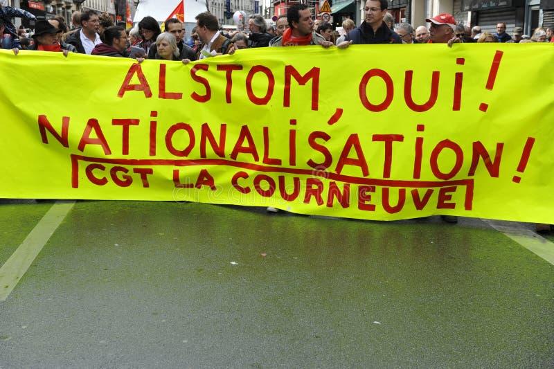 Εκδήλωση Παρίσι, διαμαρτυρία ημέρας Μαΐου για Alstom στοκ εικόνα με δικαίωμα ελεύθερης χρήσης