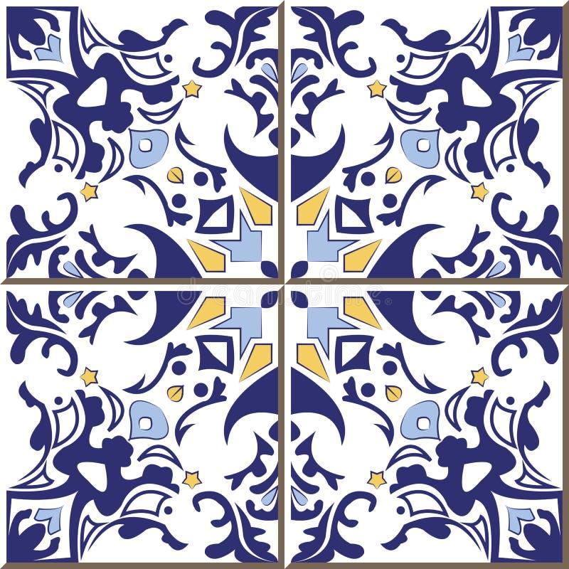 Εκλεκτής ποιότητας άνευ ραφής κεραμίδια τοίχων του μπλε καλειδοσκόπιου γεωμετρίας, Μαροκινός, πορτογαλικά διανυσματική απεικόνιση