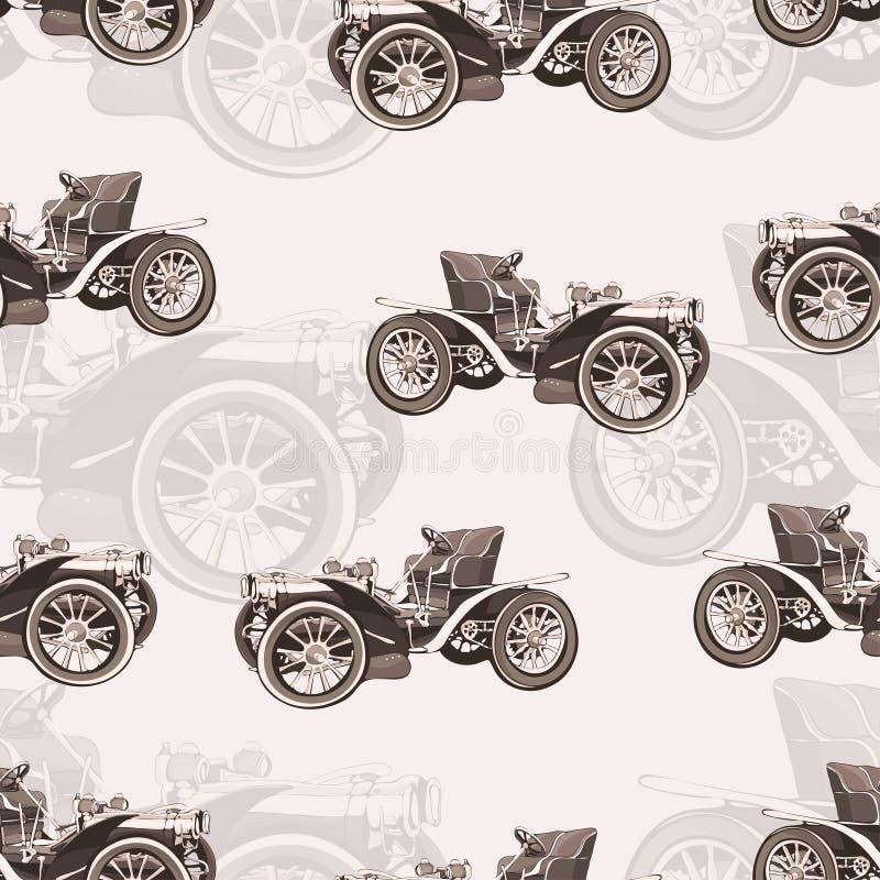 Εκλεκτής ποιότητας άνευ ραφής σχέδιο αυτοκινήτων, παλαιά αναδρομική μηχανή σχεδίων, διανυσματικό υπόβαθρο κινούμενων σχεδίων, μον διανυσματική απεικόνιση