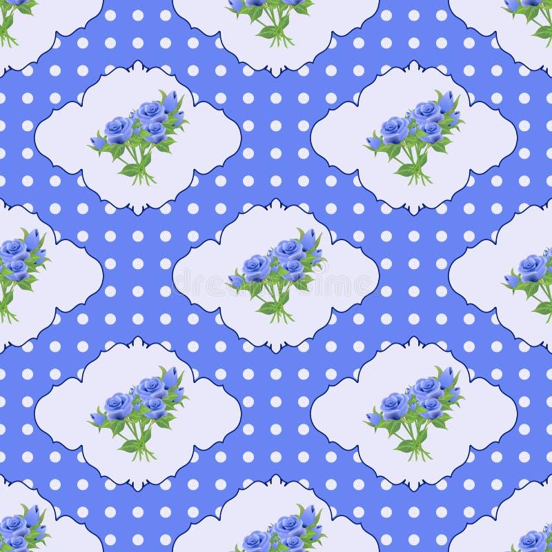 Εκλεκτής ποιότητας άνευ ραφής σχέδιο με τα τριαντάφυλλα και τα σημεία Πόλκα στους μπλε τόνους ελεύθερη απεικόνιση δικαιώματος