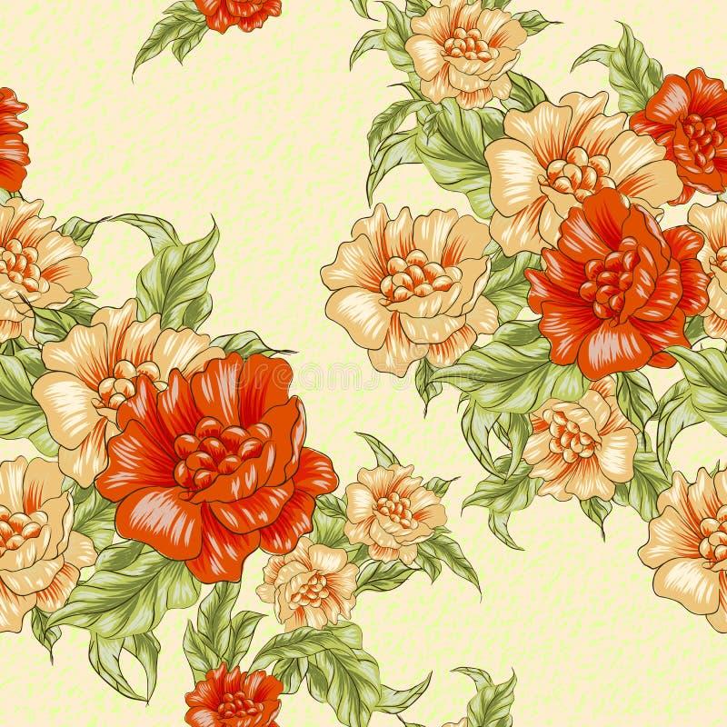 Εκλεκτής ποιότητας άνευ ραφής σχέδιο ταπετσαριών με τα πορτοκαλιά τριαντάφυλλα ελεύθερη απεικόνιση δικαιώματος