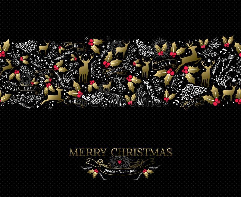 Εκλεκτής ποιότητας άνευ ραφής σχέδιο ταράνδων καρτών Χριστουγέννων διανυσματική απεικόνιση