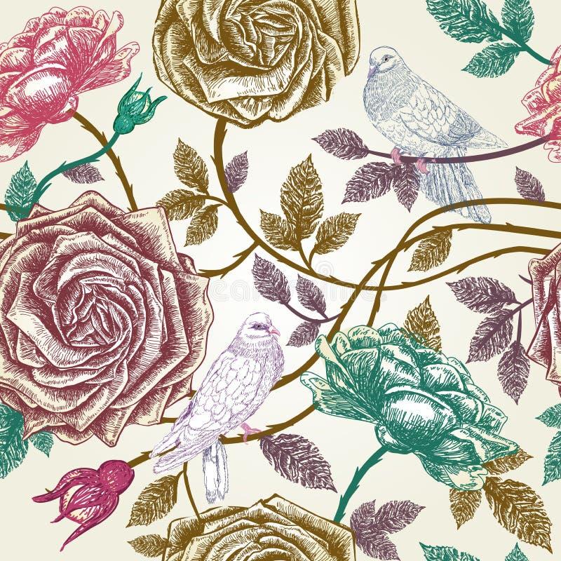 Εκλεκτής ποιότητας άνευ ραφής σχέδιο τριαντάφυλλων με τα πουλιά. ελεύθερη απεικόνιση δικαιώματος