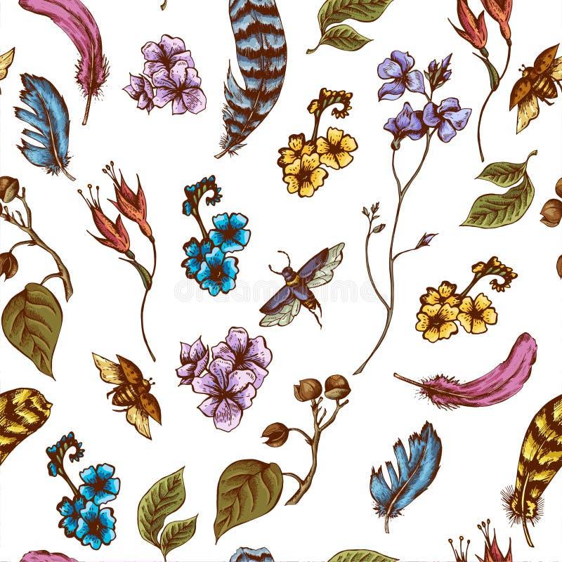 Εκλεκτής ποιότητας άνευ ραφής υπόβαθρο με τα λουλούδια, κάνθαροι απεικόνιση αποθεμάτων