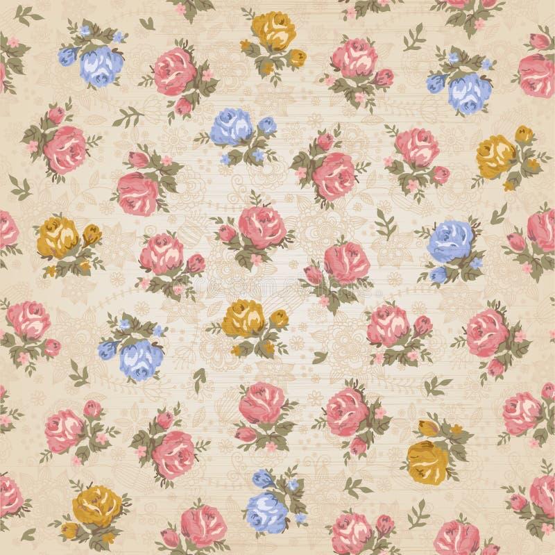 Εκλεκτής ποιότητας άνευ ραφής floral σχέδιο διανυσματική απεικόνιση