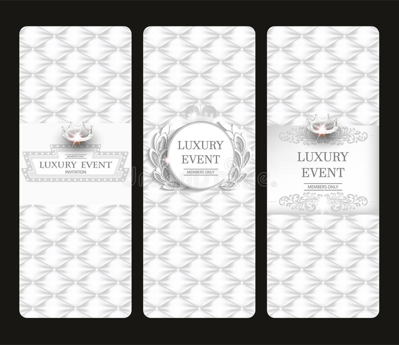 Εκλεκτής ποιότητας άσπρες κομψές κάθετες κάρτες με τη σύσταση δέρματος διανυσματική απεικόνιση