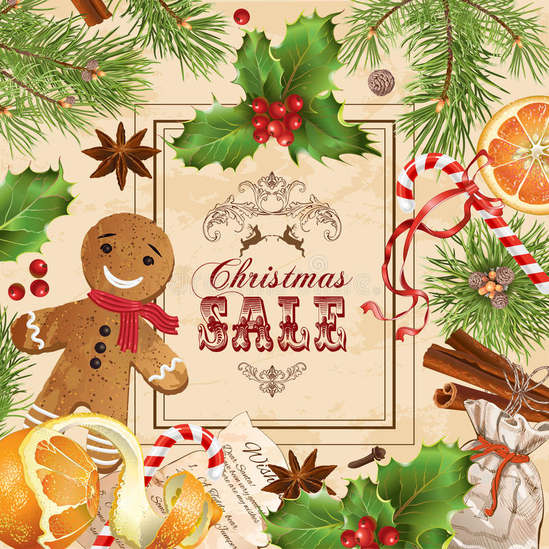 Εκλεκτής ποιότητας έμβλημα πώλησης Χριστουγέννων ελεύθερη απεικόνιση δικαιώματος