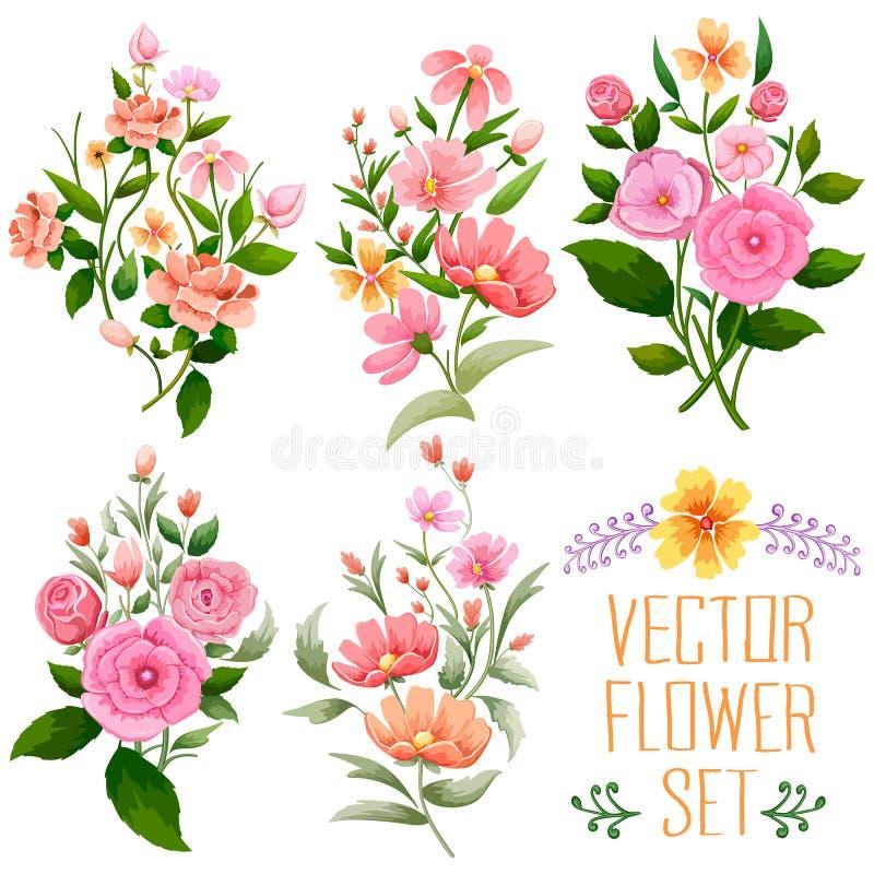 Εκλεκτής ποιότητας δέσμη Watercolor του λουλουδιού ελεύθερη απεικόνιση δικαιώματος