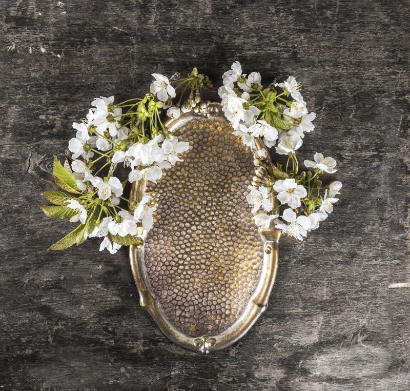 Εκλεκτής ποιότητας δίσκος χαλκού με τα άγρια λουλούδια κερασιών στοκ φωτογραφίες με δικαίωμα ελεύθερης χρήσης