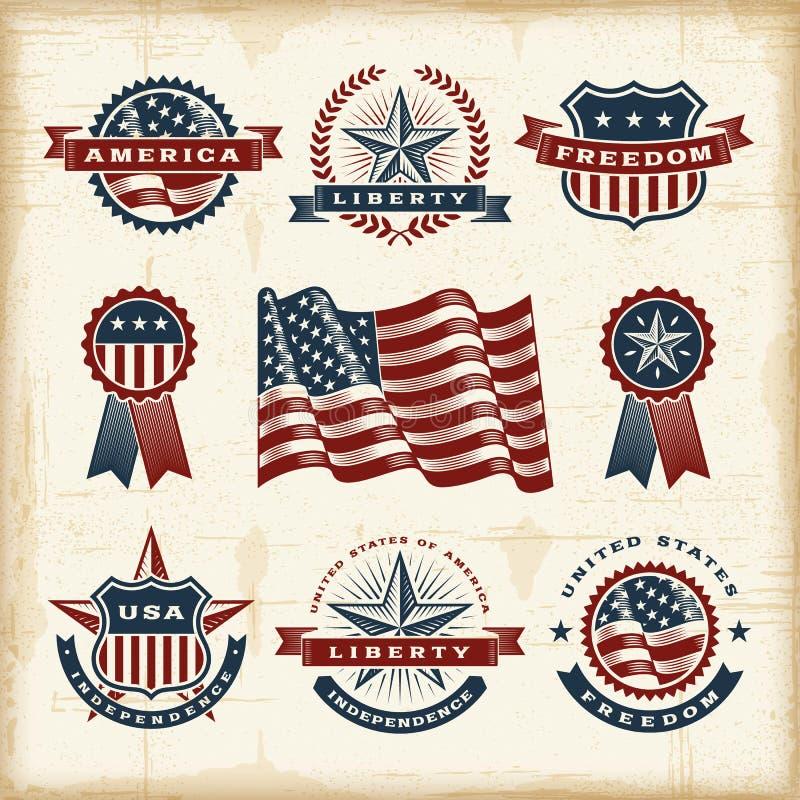 Εκλεκτής ποιότητας αμερικανικές ετικέτες καθορισμένες διανυσματική απεικόνιση