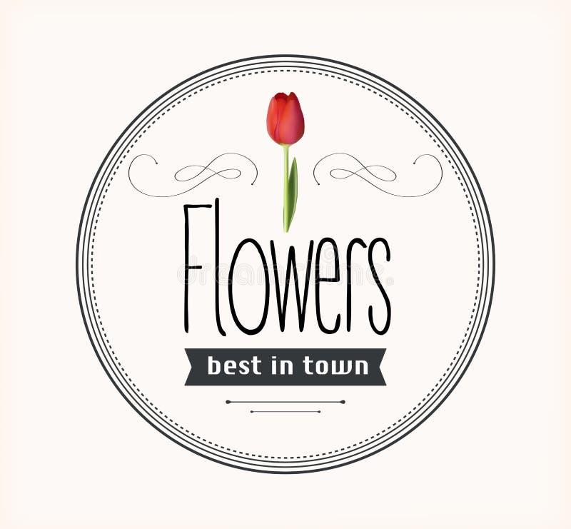 Εκλεκτής ποιότητας αναδρομική ετικέτα λουλουδιών διανυσματική απεικόνιση