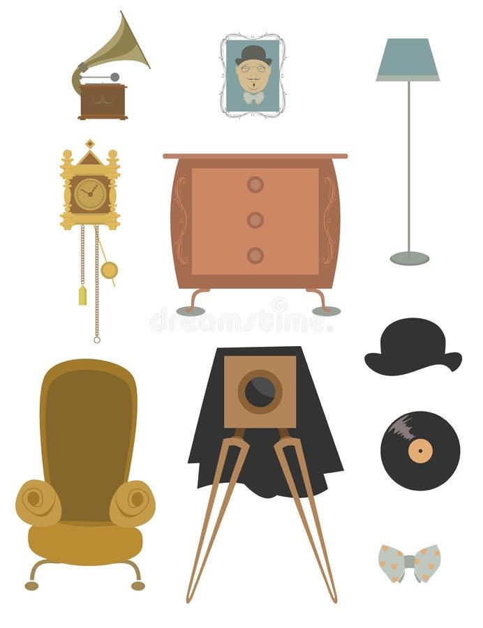 Εκλεκτής ποιότητας αναδρομική παλαιά συλλογή πραγμάτων απεικόνιση αποθεμάτων