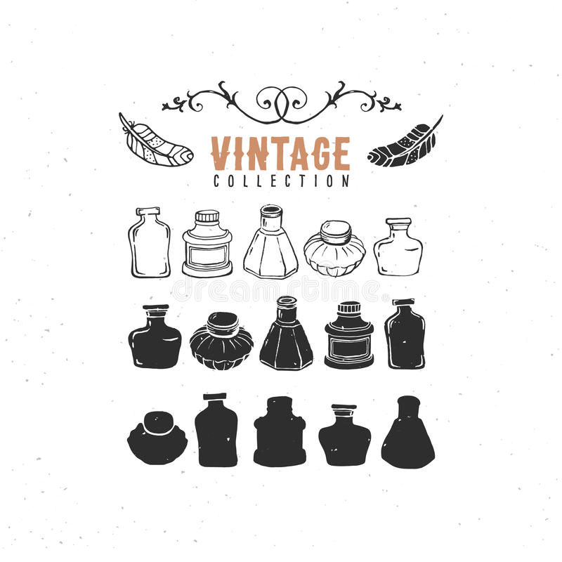 Εκλεκτής ποιότητας αναδρομική παλαιά συλλογή inkwell inkbottle inkpots απεικόνιση αποθεμάτων