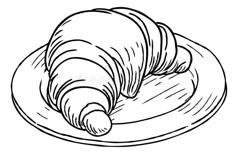 Εκλεκτής ποιότητας αναδρομικό ύφος ξυλογραφιών ζύμης Croissant διανυσματική απεικόνιση