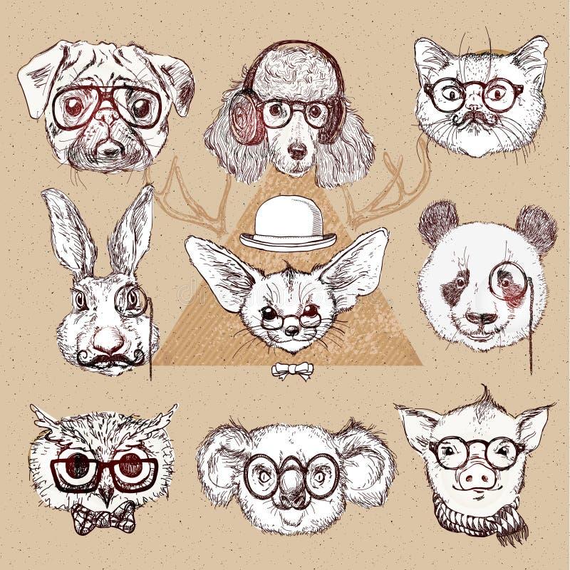 Εκλεκτής ποιότητας απεικόνιση του ζώου hipster που τίθεται με τα γυαλιά στο διάνυσμα ελεύθερη απεικόνιση δικαιώματος