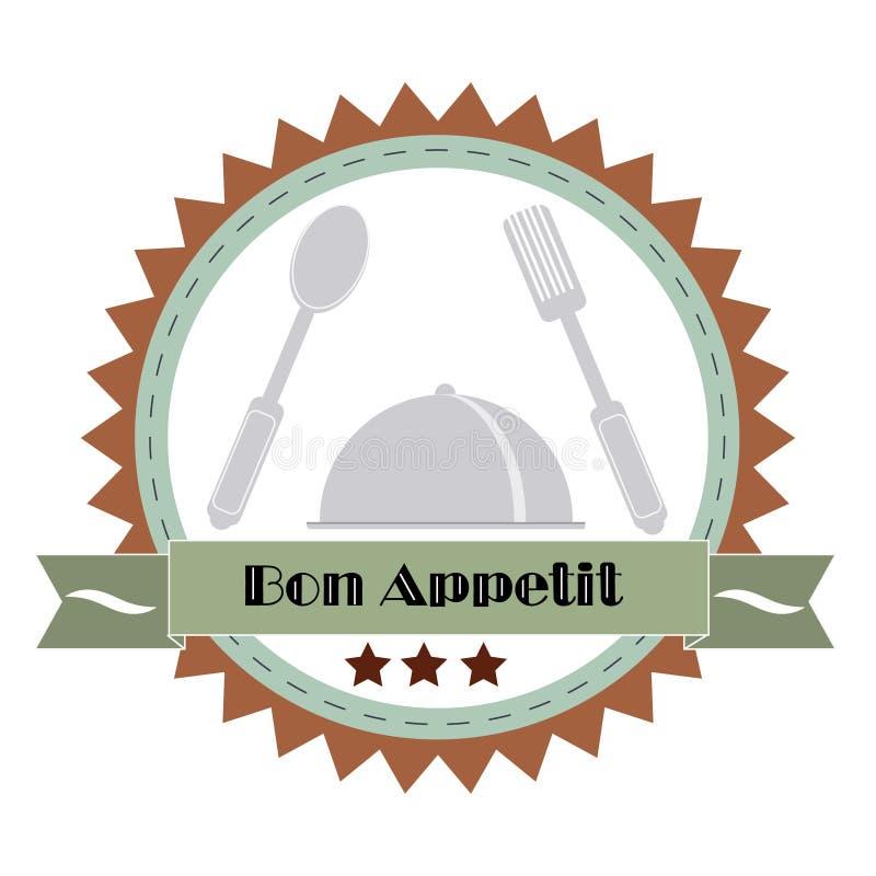 Εκλεκτής ποιότητας απεικόνιση Bon Appetit Poster επίσης corel σύρετε το διάνυσμα απεικόνισης απεικόνιση αποθεμάτων
