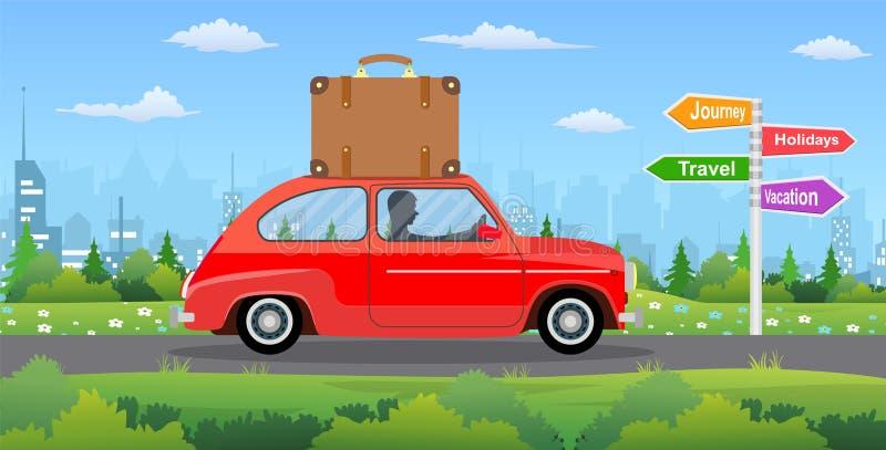 Εκλεκτής ποιότητας αυτοκίνητο στο υπόβαθρο πόλεων απεικόνιση αποθεμάτων