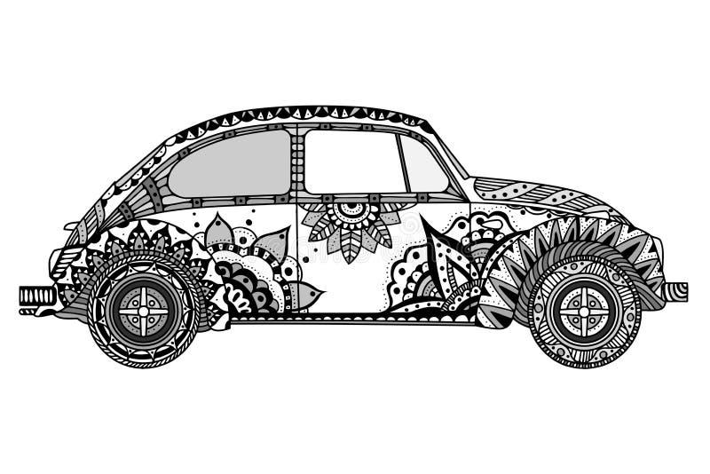 Εκλεκτής ποιότητας αυτοκίνητο στο ύφος zentangle απεικόνιση αποθεμάτων