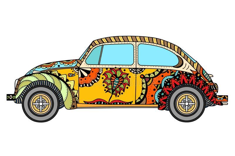 Εκλεκτής ποιότητας αυτοκίνητο στο zentangle ελεύθερη απεικόνιση δικαιώματος