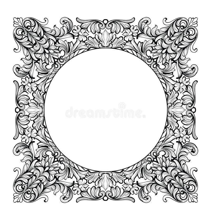 Εκλεκτής ποιότητας αυτοκρατορικός μπαρόκ καθρέφτης γύρω από το πλαίσιο Διανυσματικές γαλλικές πλούσιες περίπλοκες διακοσμήσεις πο απεικόνιση αποθεμάτων