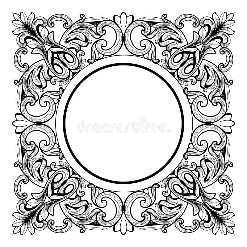 Εκλεκτής ποιότητας αυτοκρατορικός μπαρόκ καθρέφτης γύρω από το πλαίσιο Διανυσματικές γαλλικές πλούσιες περίπλοκες διακοσμήσεις πο διανυσματική απεικόνιση