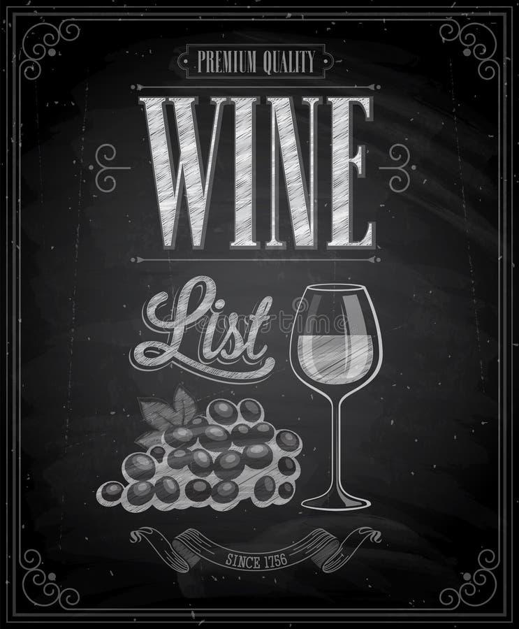 Εκλεκτής ποιότητας αφίσα καταλόγων κρασιού - πίνακας κιμωλίας. διανυσματική απεικόνιση